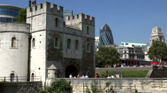 Great Britain England capital city main entrance portal of London Tower Stock Footage