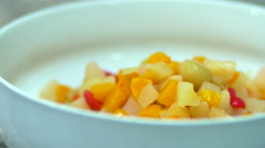 White Bowls With Vanilla Puding And Fruits, Desert Stock Footage