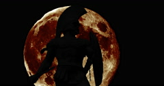 Silhouettes of the thermopylae with giant moon Stock Footage