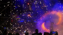 Fire Show Performance and Fireworks at Concert. Slow Motion Stock Footage