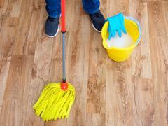 Mop basket parquet gloves Stock Photos