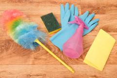 Cleaning tools on a parquet floor Stock Photos