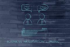 Negotiations & deals: businessmen with handshake into comic bubbles Stock Illustration