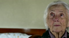 Portrait Of A Hundred Years Old Woman, Centenarian, Pan Stock Footage