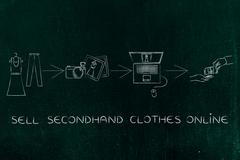 Selling and buying secondhand fashion online Stock Illustration