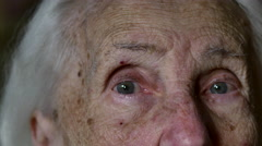 Portrait Of A Hundred Years Old Woman, Centenarian, Close Up Stock Footage