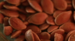 Pumpkin seeds. Washed pumpkin seeds waiting to be roasted. close-up Stock Footage
