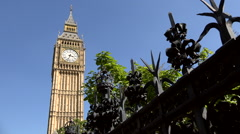 Great Britain England London Westminster Palace clock tower Big Ben Stock Footage
