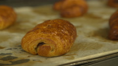 Close up of a chocolate croissant Stock Footage