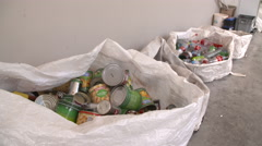 Collecting of cans and plastic bottles Stock Footage