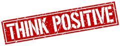 Think positive square grunge stamp Stock Illustration