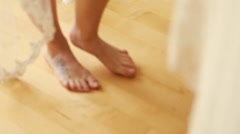 Beautiful legs of young bride Stock Footage