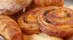 Close up of french pastries basket Stock Footage