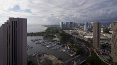 Tides: Hawaii, Marina Boats with City during Day, Wide Stock Footage