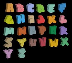 3D graffiti color fonts alphabet over black Piirros