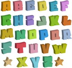 3D graffiti blocky color fonts alphabet over white Piirros