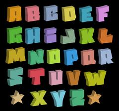 3D graffiti blocky color fonts alphabet over black Piirros