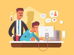Boss looks employee Stock Illustration