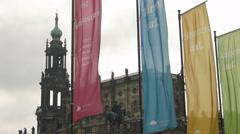 Fluttering flags frame Hofkirche Stock Footage