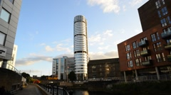 Time lapse bridgewater place skyscraper viewed from granary wharf leeds uk Stock Footage