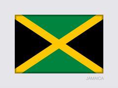 Flag of Jamaica. Aspect Ratio 2 to 3. Rectangular Official Flag Stock Illustration