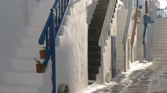 A number of house steps in the town of chora on mykonos, greece Stock Footage