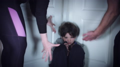 4k Domestic Violence and Abuse, Parents Shouting with Cruelty at Child in Corner Stock Footage
