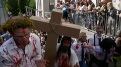 Crowd of zombies yelling and making horrifying sounds, zombie walk in Stockholm Stock Footage