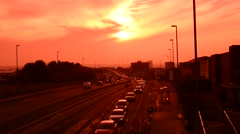 Traffic jam at sunset queueing at roadworks in the city of leeds uk Stock Footage