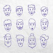 Hairstyles beard and hair face cut young man doodle cartoon collection. Vector Stock Illustration