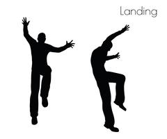 Man in  Landing  Action pose Stock Illustration