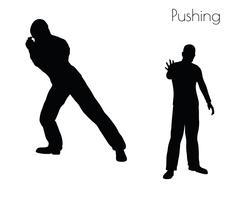 Man in  Pushing  Action pose Stock Illustration