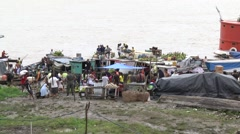 Panoramic view of a river port on the Amazon during the dry season Stock Footage