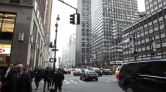 People and Traffic Park Avenue Manhattan Stock Footage