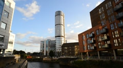 Bridgewater place skyscraper viewed from granary wharf leeds uk Stock Footage