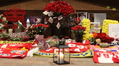 The Hillsborough Memorial at Liverpool Football Club's new main stand Stock Footage