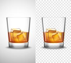 Whisky Shots Glassware Realistic Transparent Banners Stock Illustration