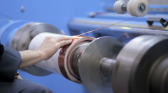 Copper wire wound, wrap copper coil, making electrical coil of a transformer Stock Footage
