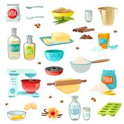 Baking Ingredients Colored Icons Stock Illustration