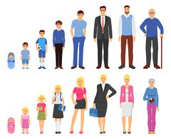 People aging process flat icons set Stock Illustration