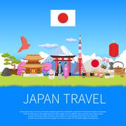 Japan Travel Flat Composition Advertisement Poster Stock Illustration