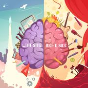 Brain Right Left Sides Cartoon Poster Stock Illustration