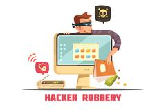 Computer Security Hacker Retro Cartoon Icon Stock Illustration