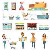 People In Supermarket Cartoon Icons Set Stock Illustration