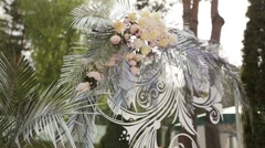 Beautiful white arch for the wedding ceremony Stock Footage