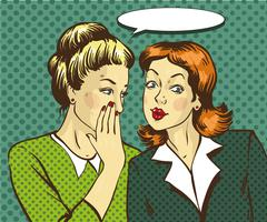 Pop art retro comic vector illustration. Woman whispering gossip or secret to Stock Illustration