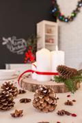 DIY Christmas table decoration Stock Photos