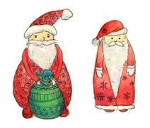 Set of Santa Clause. Funny . New Year Greeting Card. Christmas watercolor Stock Illustration