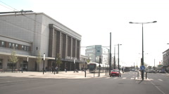 Front entrance to the main railway station in Le Havre Stock Footage