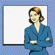 Woman with blank white paper poster. Pop art comic retro style vector illustr Stock Illustration